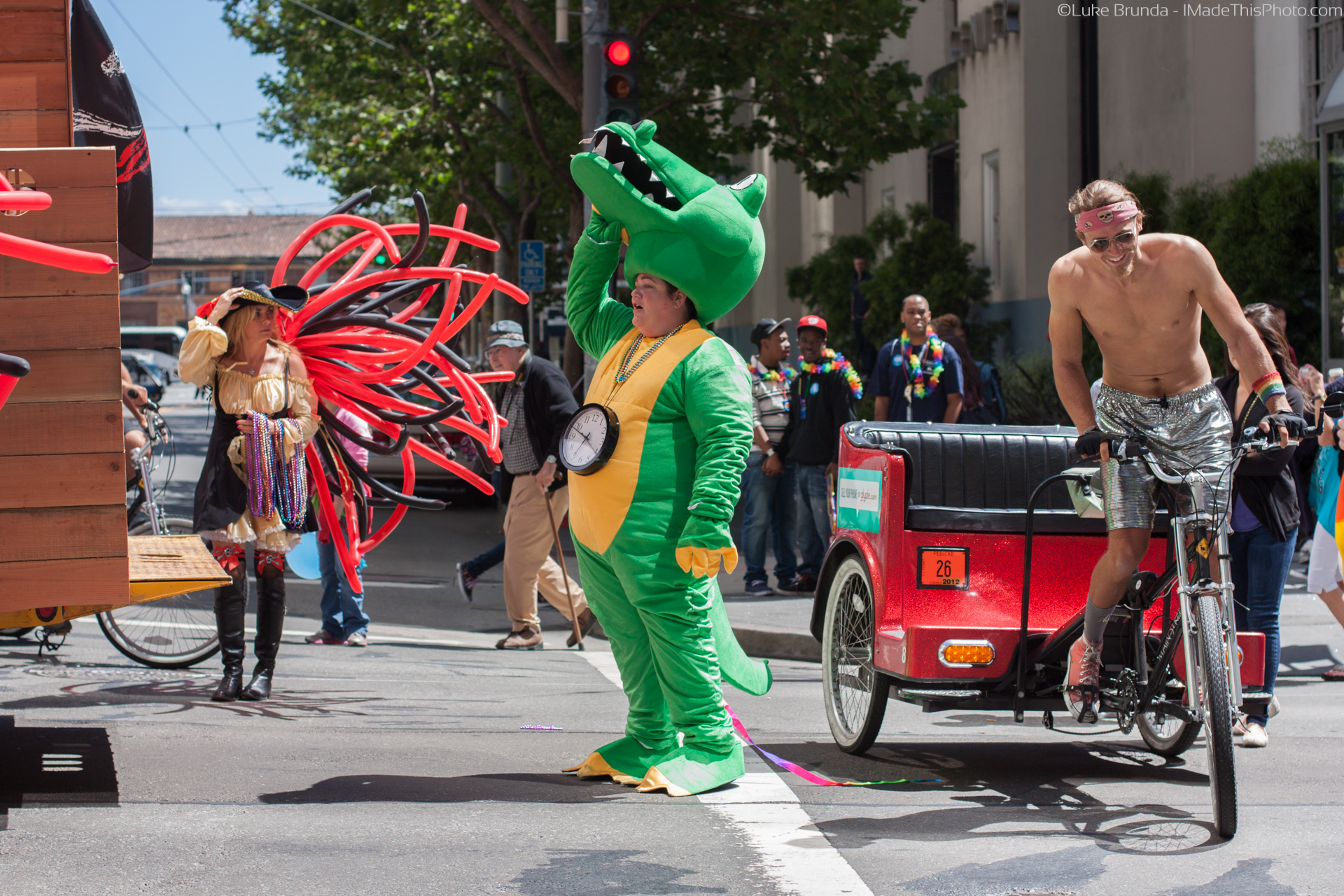 A crocodile and a chariot in San Francisco's Pride parade.