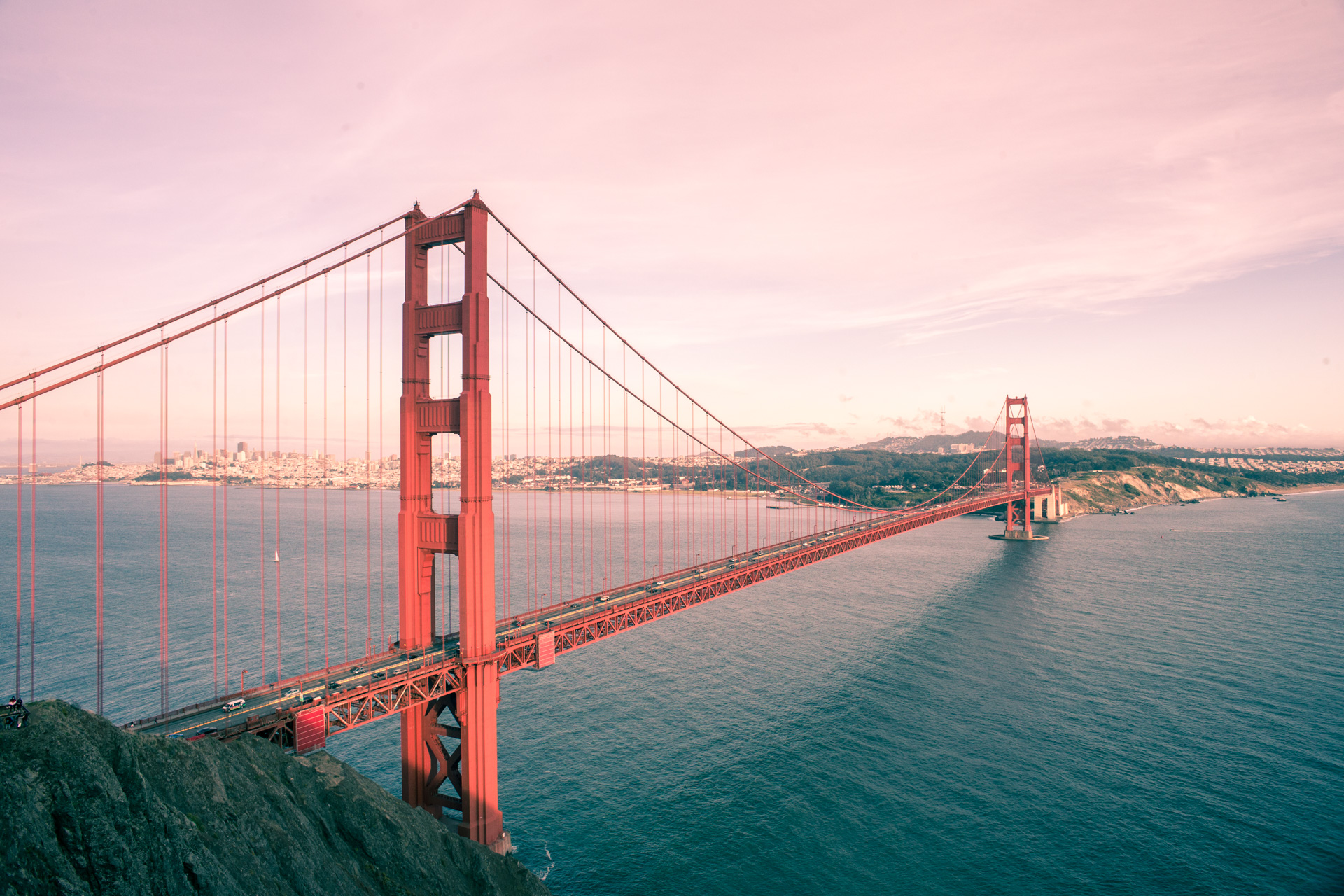 Sunset across the Golden Gate, with hints of rose.